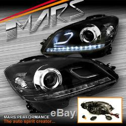 Black LED DRL Projector Head Lights for Mercede-Benz C-Class W204 07-10 NON HID
