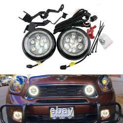 Black Led Driving Rally DRL Daytime Running Halo Ring Fog Light For Mini Cooper