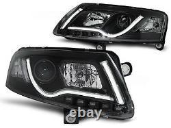 Black Lightbar Xenon Headlights with daytime running lights FOR Audi A6 C6 04-08