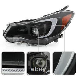 Black OLED Tube Projector Headlights LED DRL Lamp For 12-16 Impreza/XV Crosstrek
