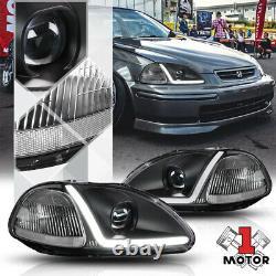 Black Projector Headlight Light LED BAR DRL Clear Signal for 96-98 Honda Civic