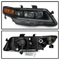 Black Smoke For 04-08 Acura TSX LED Neon Tube DRL Projector Headlight Lamp L+R