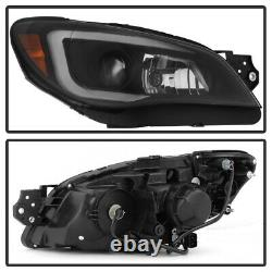 ^Black Smoke^ LED DRL Tube Projector Headlight Fit 06-07 Subaru Impreza WRX PAIR