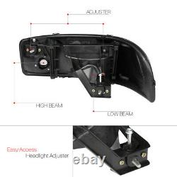 Black/Smoke LED LIGHT BAR DRL Headlight+Bumper for 01-07 Sierra/Yukon Denali