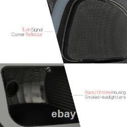 Black/Smoke LED LIGHT BAR DRL Headlight+Bumper for 99-07 Sierra/Yukon Classic