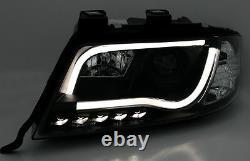 Black clear finish Light Tube headlight set for Audi A6 C5 4B DRL TFL Bar 97-01
