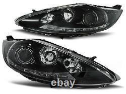 Black clear finish headlights with LED DRL LIGHTS FOR Ford Fiesta MK7 08-12