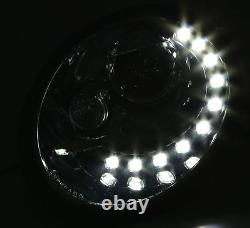 Black clear finish headlights with LED DRL daytime lights for VW BEETLE 98-05