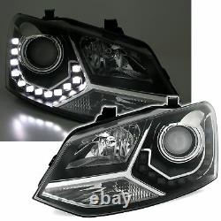 Black clear finish headlights with LED DRL lights for VW POLO 6R 6C in GTI LOOK