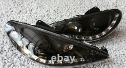 Black clear finish headlights with daytime LED DRL lights for PEUGEOT 206 206CC
