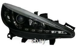 Black clear finish headlights wtih LED DRL daytime lights for PEUGEOT 207 06-12