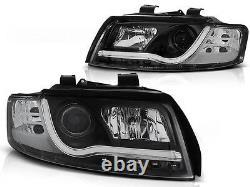 Black finish LightTube headlight set with DRL LED lights FOR Audi A4 B6 00-04