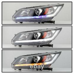 Blue Welcome Light 13-15 Honda Accord LED Sequential withWhite DRL Headlights