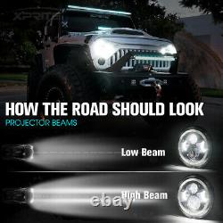 Bluetooth RGB Halo 90W CREE LED 7 Headlights For 97-18 Jeep Wrangler JK