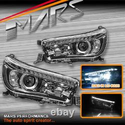 DRL Projector Head Lights & High Power LED Bulbs for Toyota Hilux Revo Rocco 15+