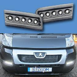 Daytime Running Lights DRL LED Pod Kit Fiat Ducato Boxer Relay M/home Black Text