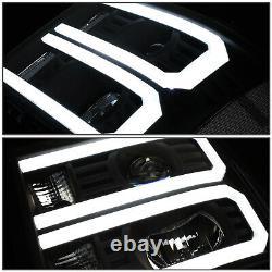 Fit 07-14 GMC Sierra Custom LED U-Light Bar DRL Projector Headlight Black/Clear