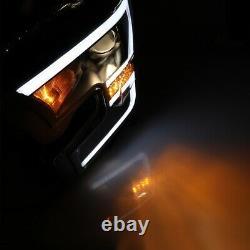 Fits 2015-2017 Ford F-150 PAIR Projector Headlights LED Light Bar DRL Black