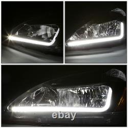 For 03-07 Honda Accord LED DRL Light Bar Black/Amber Headlight Lamps Replacement