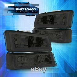 For 03-07 Silverado 4pcs LED DRL Smoked Lens Headlights + Parking Bumper Lamps