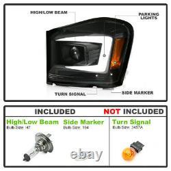 For 04-06 Dodge Durango BLACK LED Neon Tube C-Shape DRL Projector Headlight Lamp