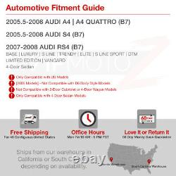 For 05-08 Audi A4 S4 RS4 B7 Sedan Black LED Rear Brake Signal Tail Light 4PC SET