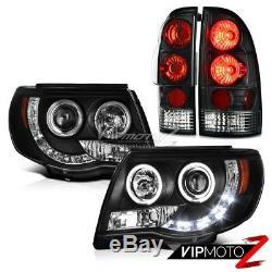 For 05-11 Toyota Tacoma Black LED DRL STRIP Halo Headlights Brake Tail Lights