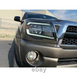 For 05-11 Toyota Tacoma LED Crystal Headlights with DRL Activation Lights Black