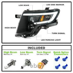 For 07-10 Ford Edge BLACK LED Neon Tube DRL Projector Headlight Left+Right Lamp