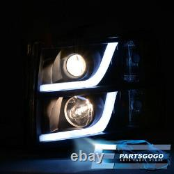 For 07-13 Chevy Silverado LED DRL Black Headlights + Smoked Tinted Tail Lights