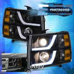 For 07-13 Chevy Silverado LED DRL Projector Head Lights Lamps LH RH Black Amber