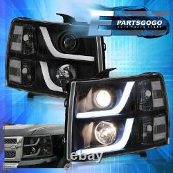 For 07-13 Chevy Silverado LED DRL Projector Head Lights Lamps LH RH Black Clear
