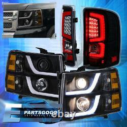 For 07-13 Chevy Silverado Led Drl Black Headlights Black Housing Red Tail Lights