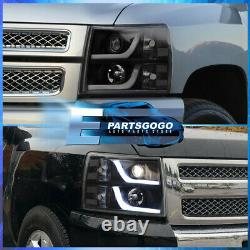For 07-13 Silverado LED DRL Black Headlights Set + LED Tube Streak Tail Lights