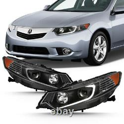 For 09-14 Acura TSX CU2 LED Light Tube DRL Projector Replacement Head Lamp Black