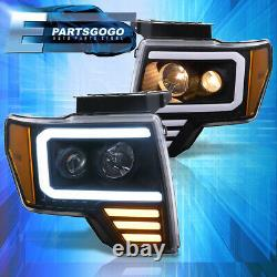For 09-14 Ford F150 Black Amber LED DRL Tube Projector Headlights Lamps Pair Set