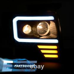 For 09-14 Ford F150 Black Clear LED DRL Tube Projector Headlights Lamps Pair Set