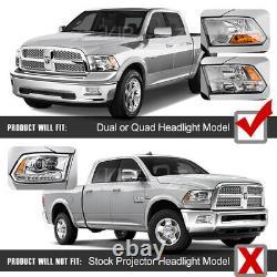 For 09-18 Dodge Ram Switchback LED DRL Signal Tube Projector Headlight Black L+R
