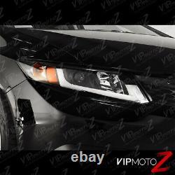 For 12-15 Civic Coupe Sedan FB FG Black TRON TUBE DRL Projector Headlight Lamp