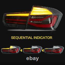 For 12-18 BMW F30 3er F80 M3 Black Fiber Optic LED Strip Sequential Tail Lights