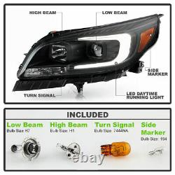 For 13-15 Chevy Malibu BLACK LED Neon Tube Halo DRL Projector Headlight L+R Lamp