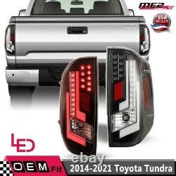 For 14 -21 Toyota Tundra DRL LED Tube Brake Tail Lights Clear Pair