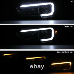 For 16-21 Toyota Tacoma Sinister Black Smoke LED Sequential Signal DRL Headlight
