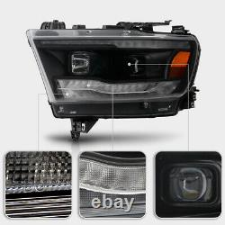 For 19-21 Dodge Ram 1500 Black SEQUENTIAL LED DRL SIGNAL Projector Headlight