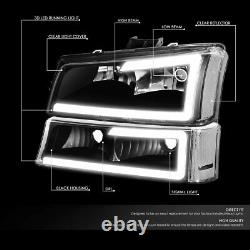 For 2003-2006 Chevy Silverado 3D LED DRL HeadLights+Bumper Lights Black Clear