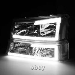 For 2003-2006 Chevy Silverado 3D LED DRL HeadLights+Bumper Lights Clear 2PCS