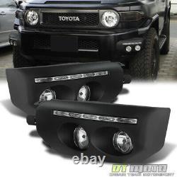 For 2007-2014 Toyota Fj Cruiser Black Bumper Fog Lights LED DRL Driving Lamps