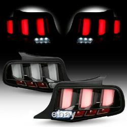 For 2010-2014 Ford Mustang Black Clear Sequential LED Tube Tail Light Brake Lamp