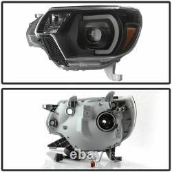For 2012-2015 Toyota Tacoma PickUp LED DRL Light Tube HeadLights Black RH+LH