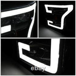 For 2015-2017 Ford F150 3d Led Drl Tube Running Light Bar Headlamps Black/amber